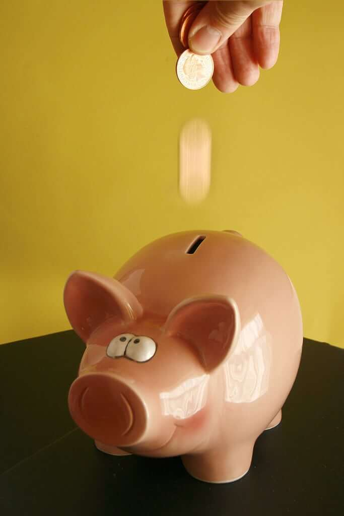 drop coin in piggy bank