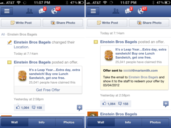 Einstein Brothers Bagels Facebook Offer Claimed