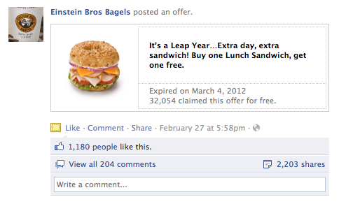 Einstein Brothers Bagels Facebook Offer