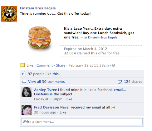 Einstein brothers bagels use Facebook Offers