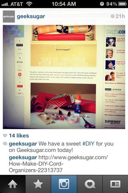 GeekSugar shares a blog post on Instagram