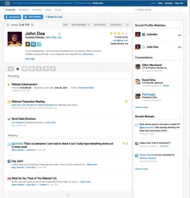 Contact Record View inside Nimble CRM