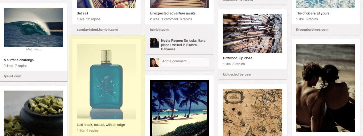 Pinterest product board example