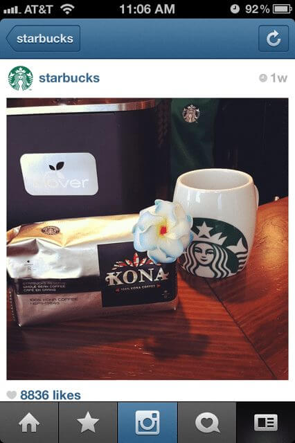 Starbucks instagrams pictures of their products.