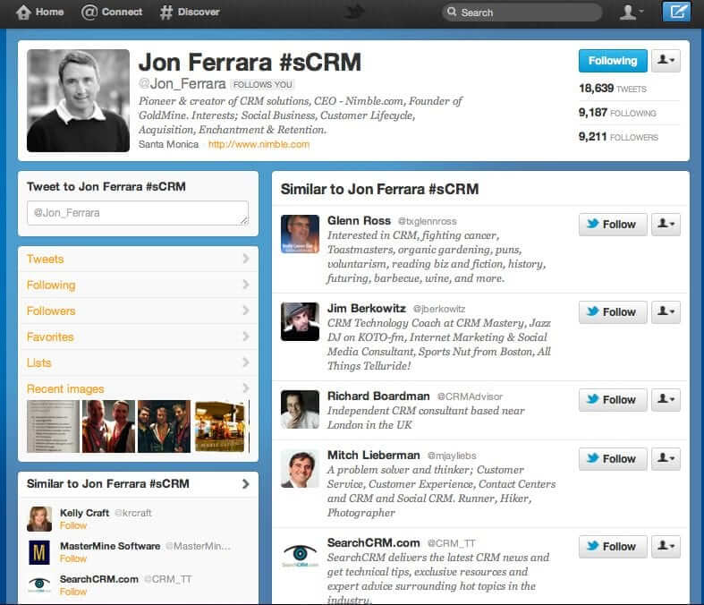 View of a Twitter Similar To list