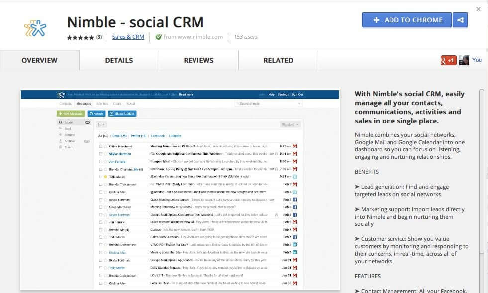 Nimble - social CRM is now in the Google Chrome store!