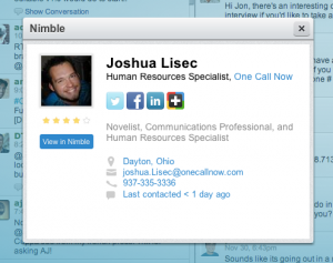 View Nimble contact record in HootSuite