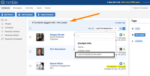 "Nimble's ""Last Contacted"" Feature Helps You Engage at the Right Time"
