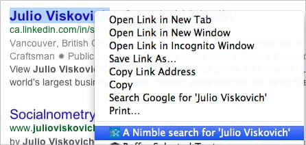 Nimble Chrome Widget Right-Click