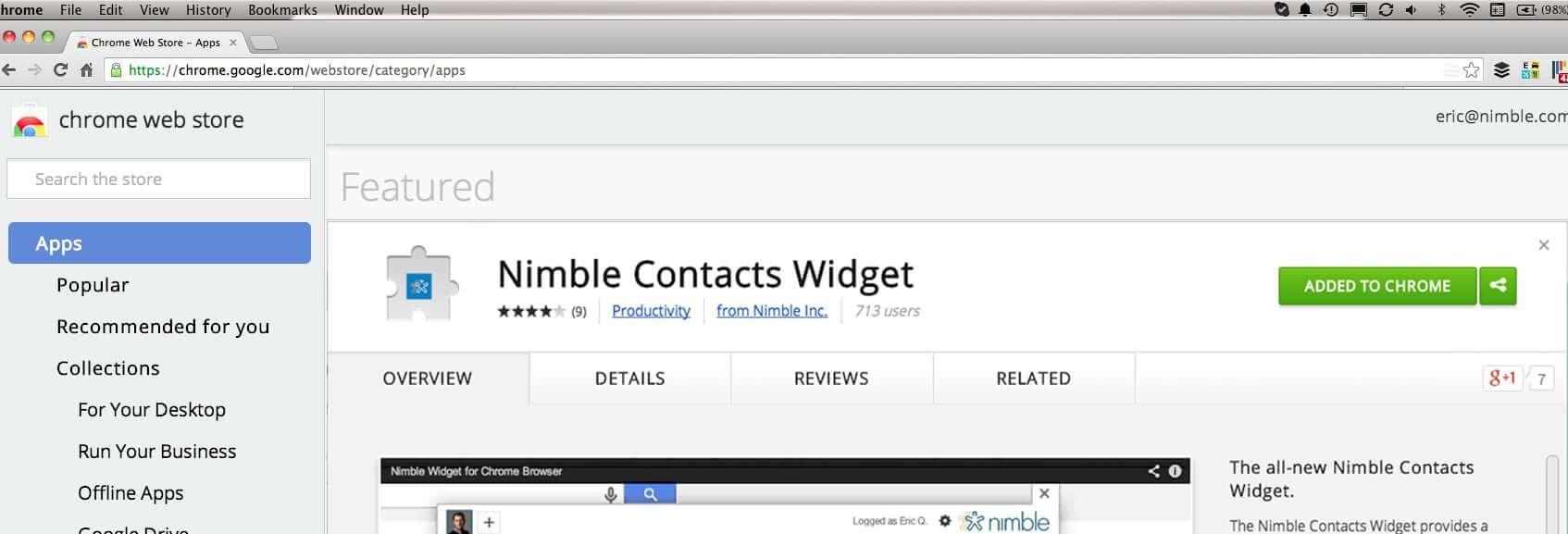 Nimble Contacts Widget for Chrome