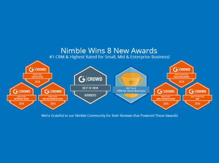 Nimble Wins 8 Awards – Crowned #1 and Highest Rated #CRM for Small, Mid & Enterprise Biz!