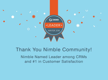 .@Nimble Crowned #CRM Market Leader & Ranked #1 in Satisfaction by @G2Crowd