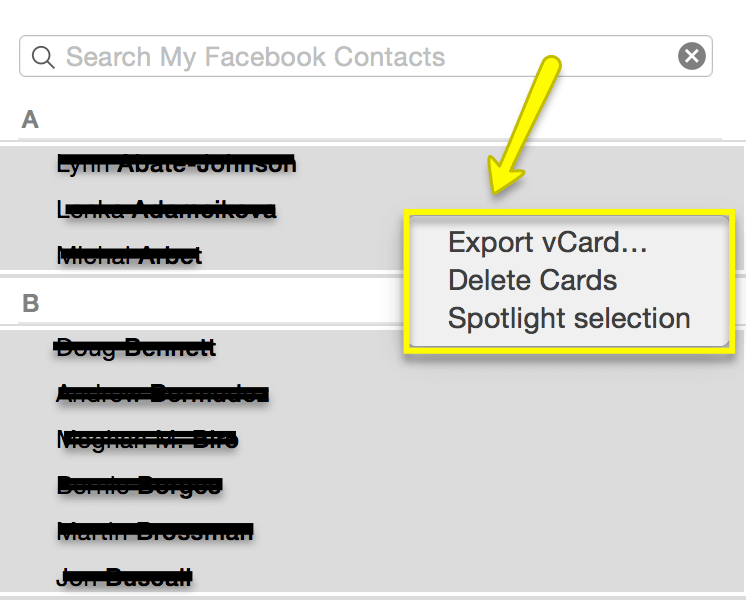 Export to vCard