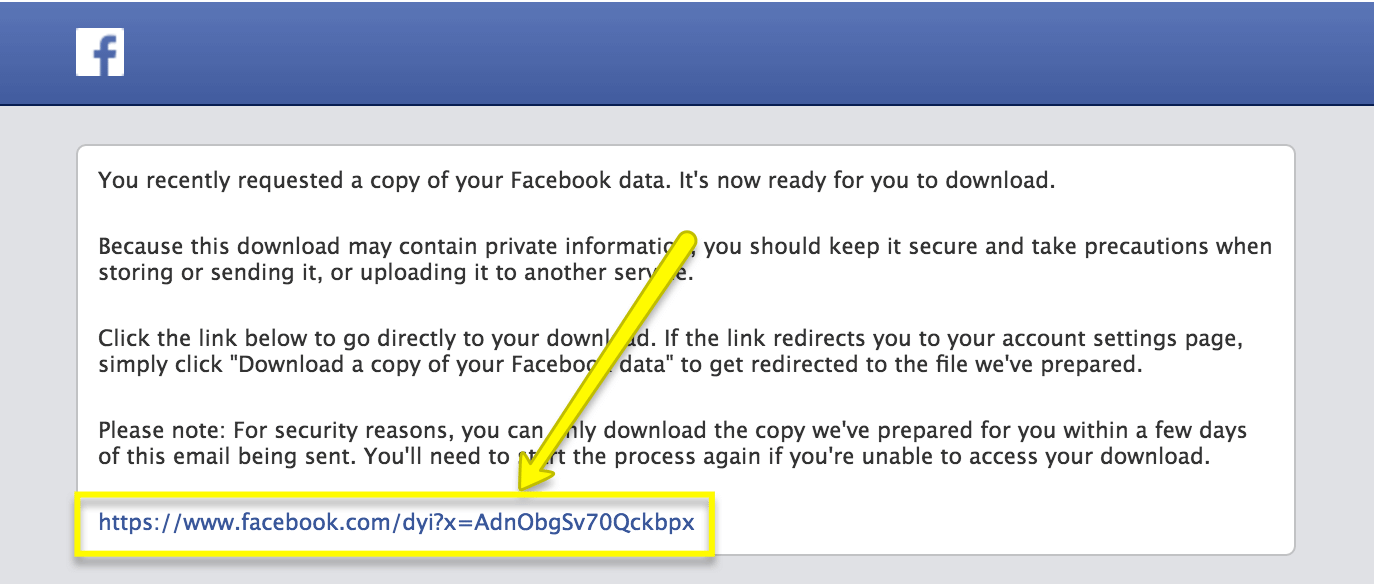 Facebook data download