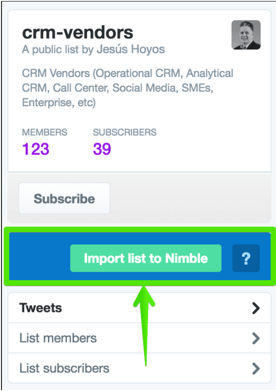 CRM Vendors - Nimble Twitter Lists