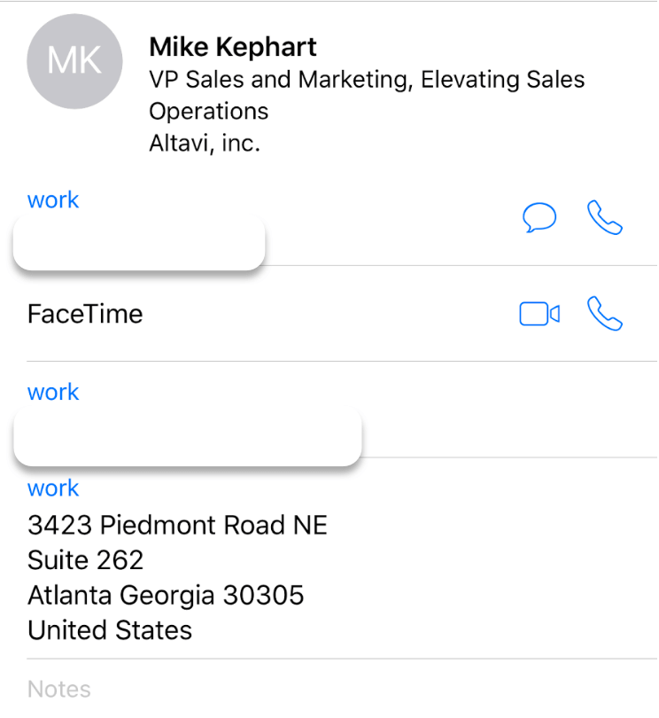 iPhone Contacts Mike Kephart