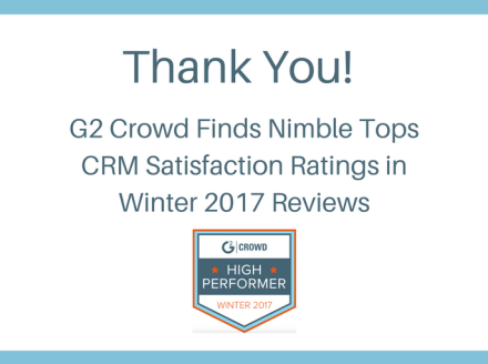 Nimble Named #1 in CRM Satisfaction  by G2 Crowd in Winter 2017 CRM Rankings
