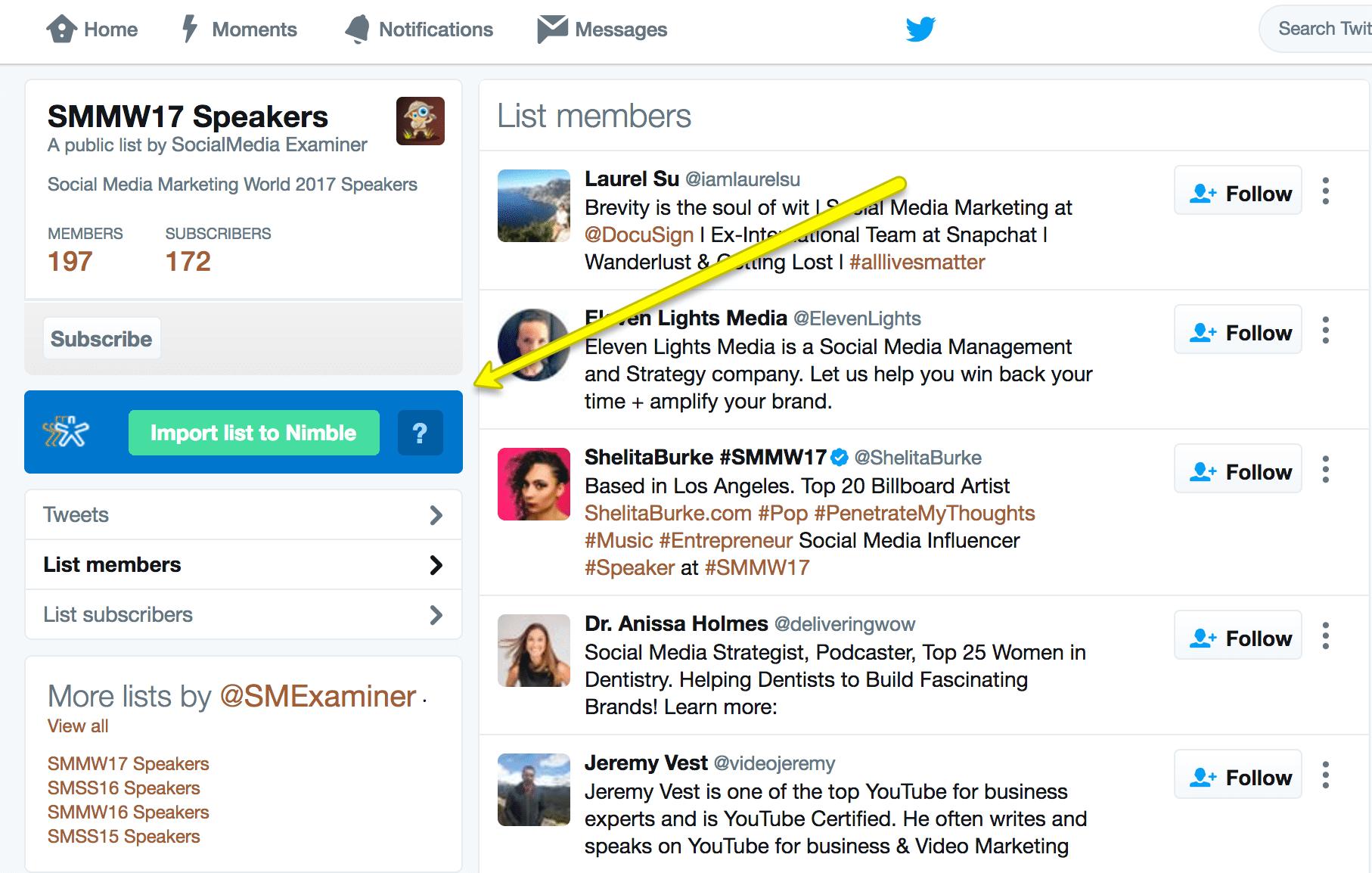 Twitter List - SMMW17