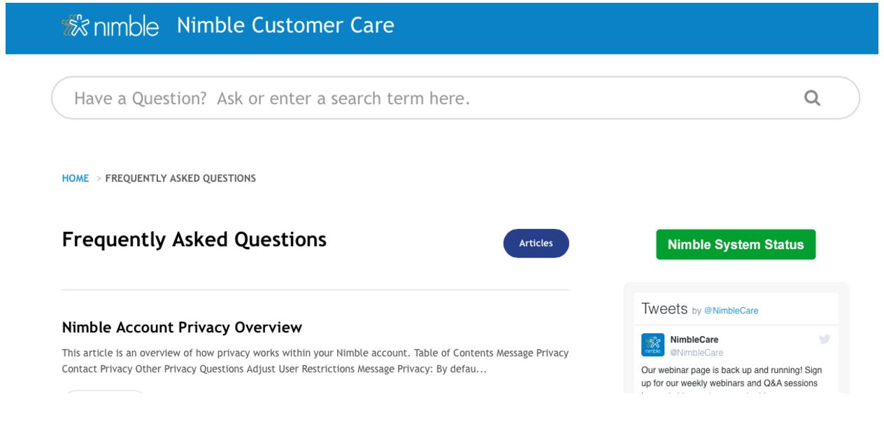 Nimble Customer Care Page