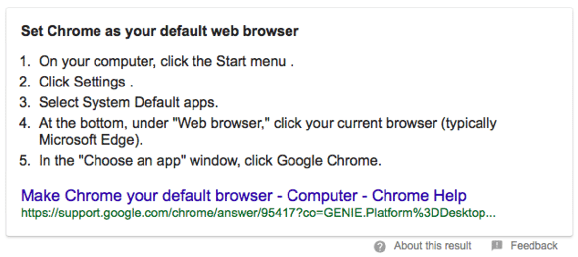 Set Chrome as Default