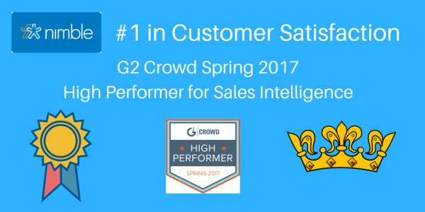 Nimble Wins #1 Honors in Customer Satisfaction and High Performer Ranking for Sales Intelligence by G2 Crowd
