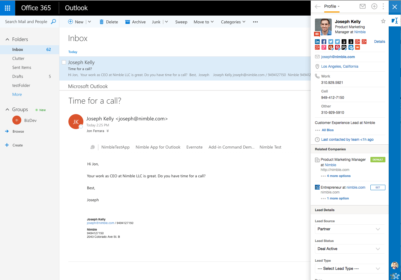 Use Nimble in Outlook