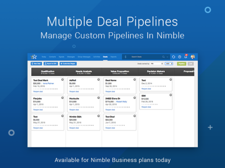 Nimble Launches Multiple Custom Deal Pipeline Management