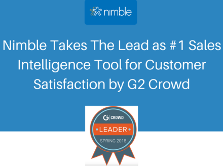 Nimble Takes The Lead As #1 Sales Intelligence Tool For Customer Satisfaction By G2 Crowd