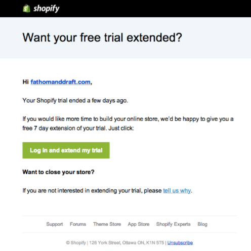 shopify free trial extension