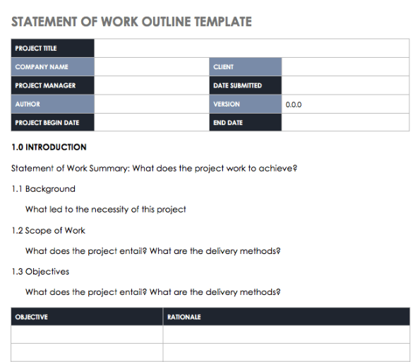 statement of work outline