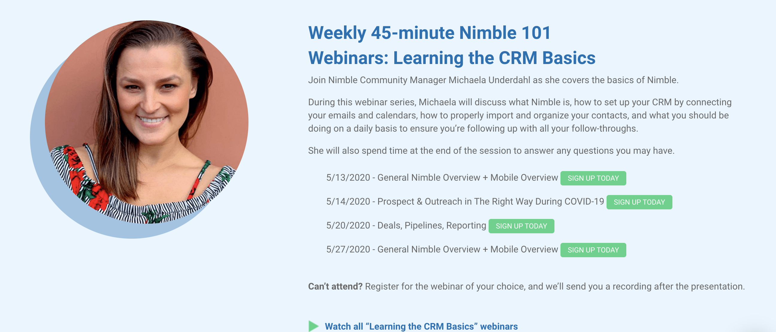 nimble training webinars