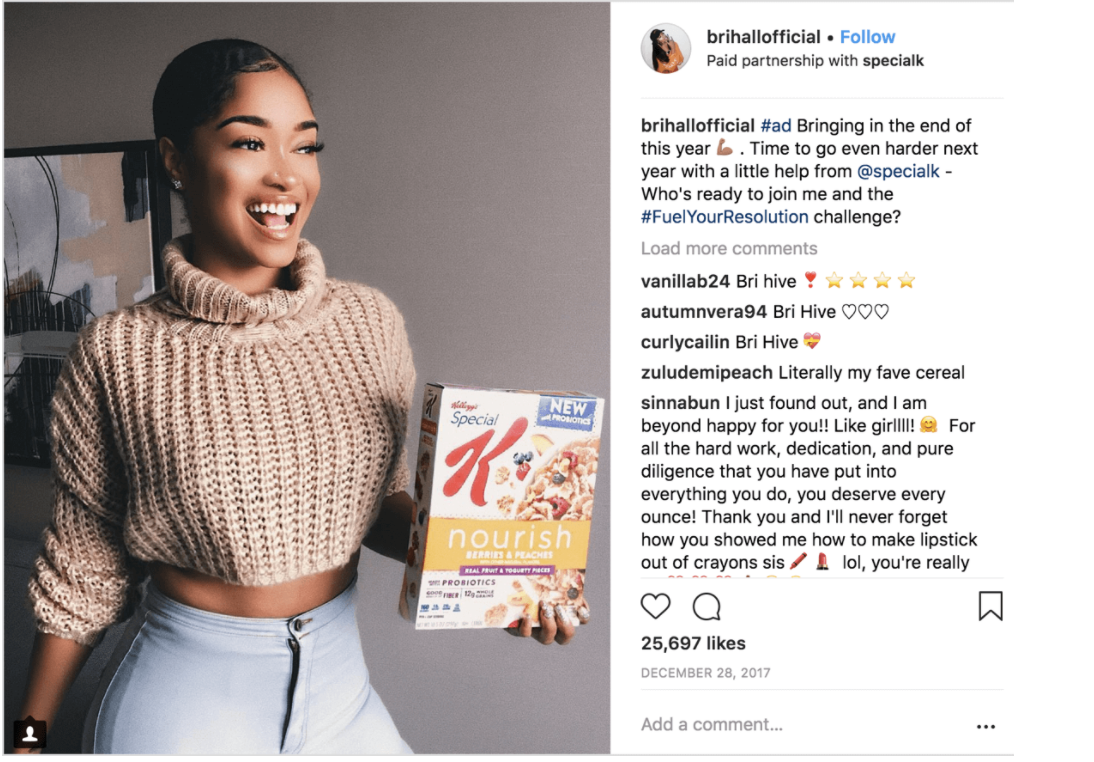 kellog instagram influencer campaign