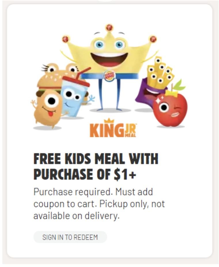 burger king kids meal promotion