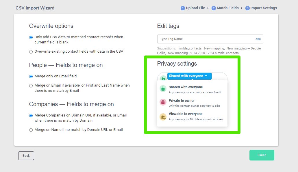 nimble contact privacy features