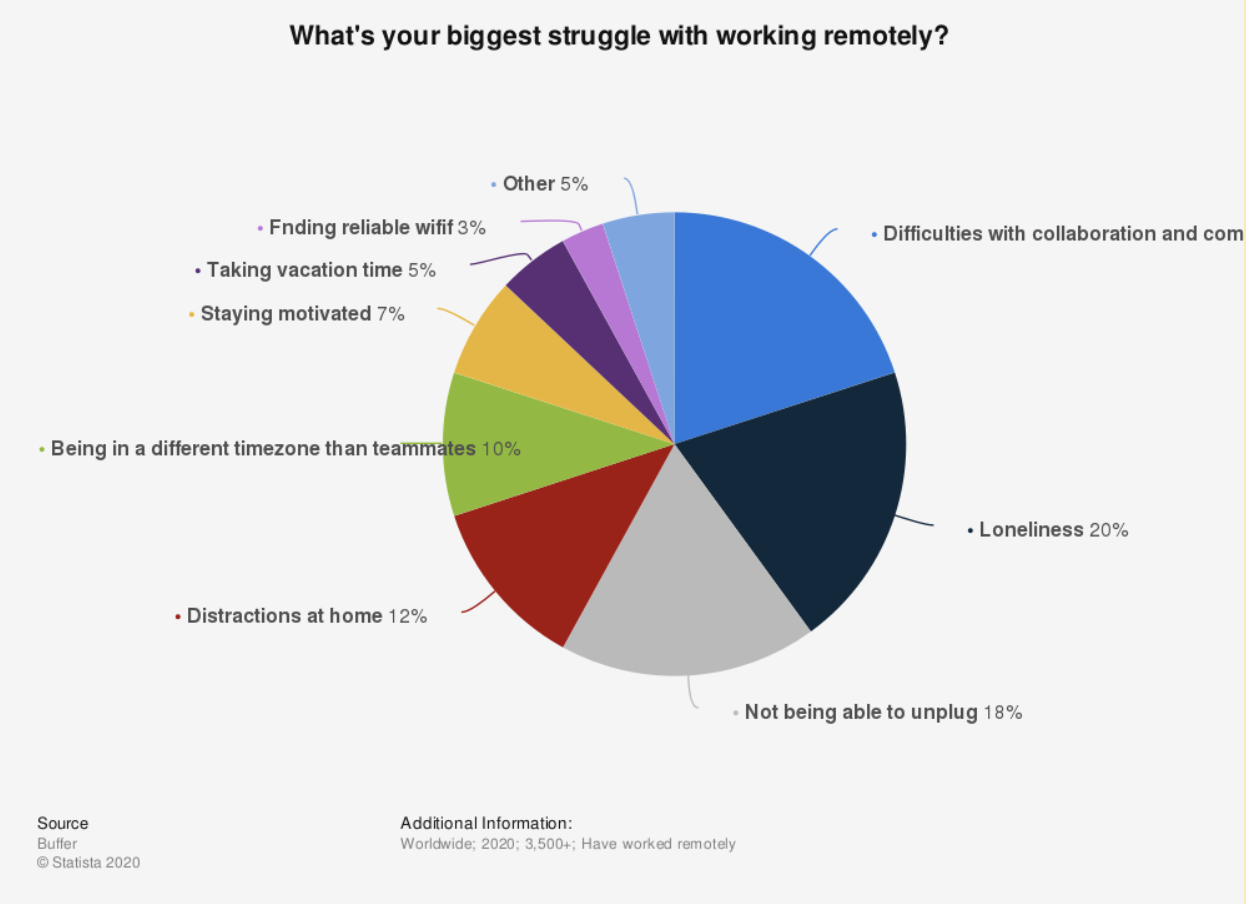 Circle graph showcasing struggles of working remotely