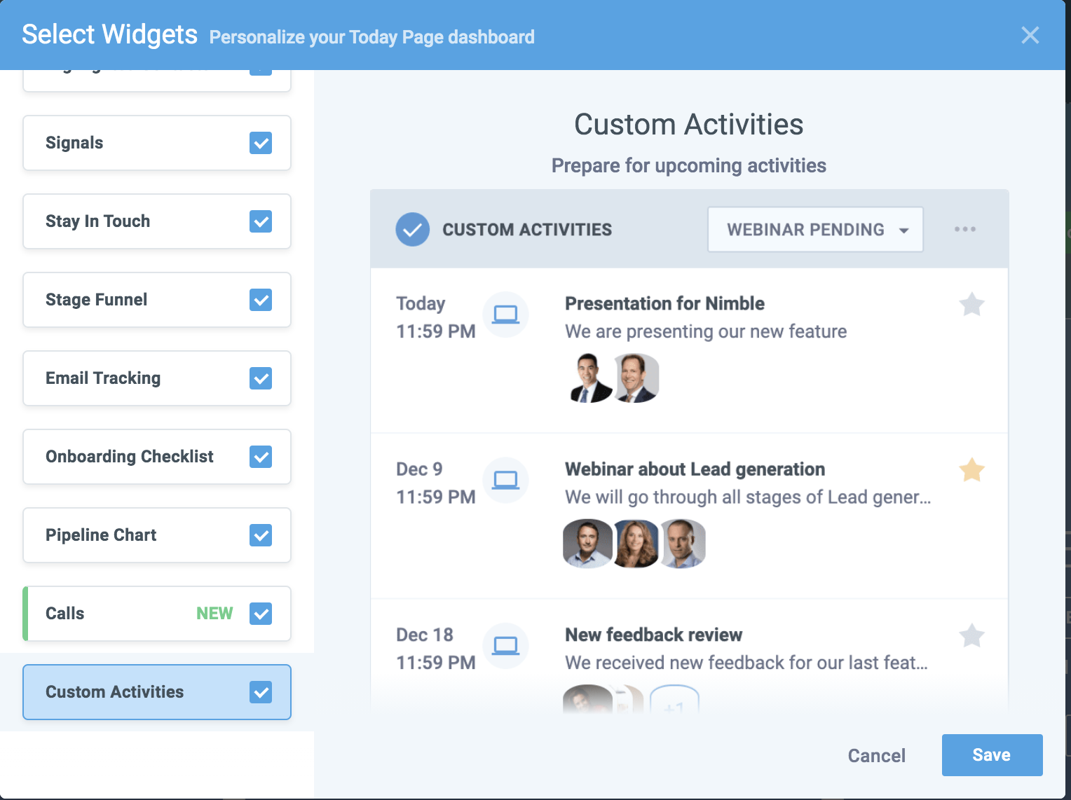 nimble custom activity type widget