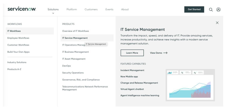 ServiceNow IT service management features