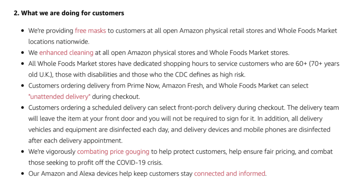 how amazon is helping their customers during covid