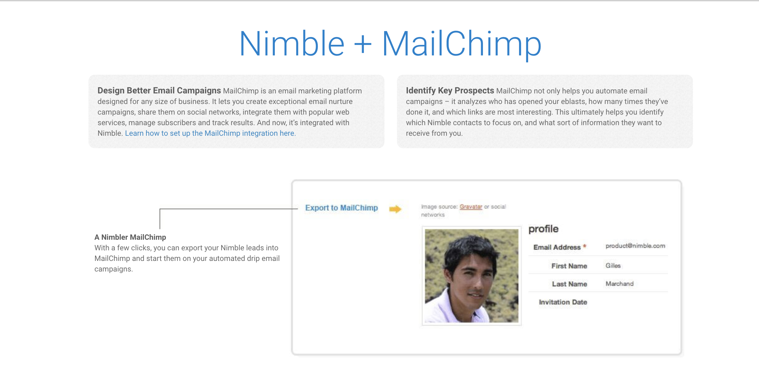 nimble mailchimp integration