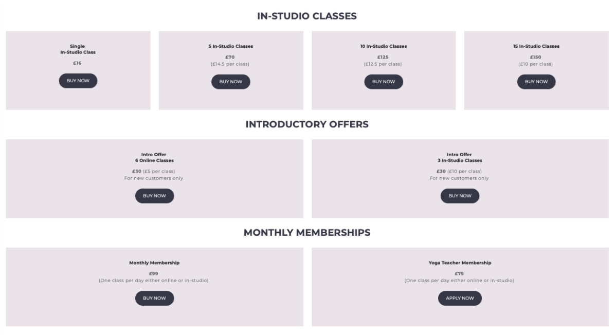 Pricing of yoga classes example