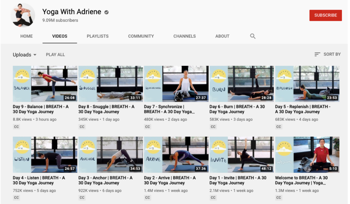 The visual design of the YouTube channel of yoga online classes