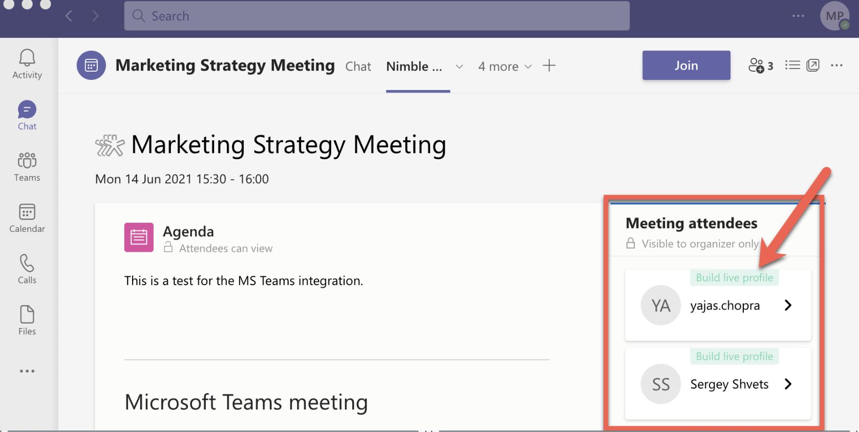 Microsoft Teams - Nimble - Build Live Profile