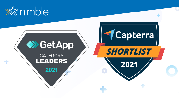 Blog post header with GetApp and Capterra achievement badges on a white background