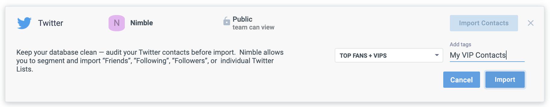 Twitter contact import screenshot