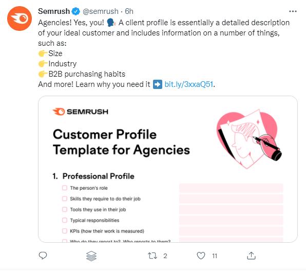 Semrush Twitter profile screenshot