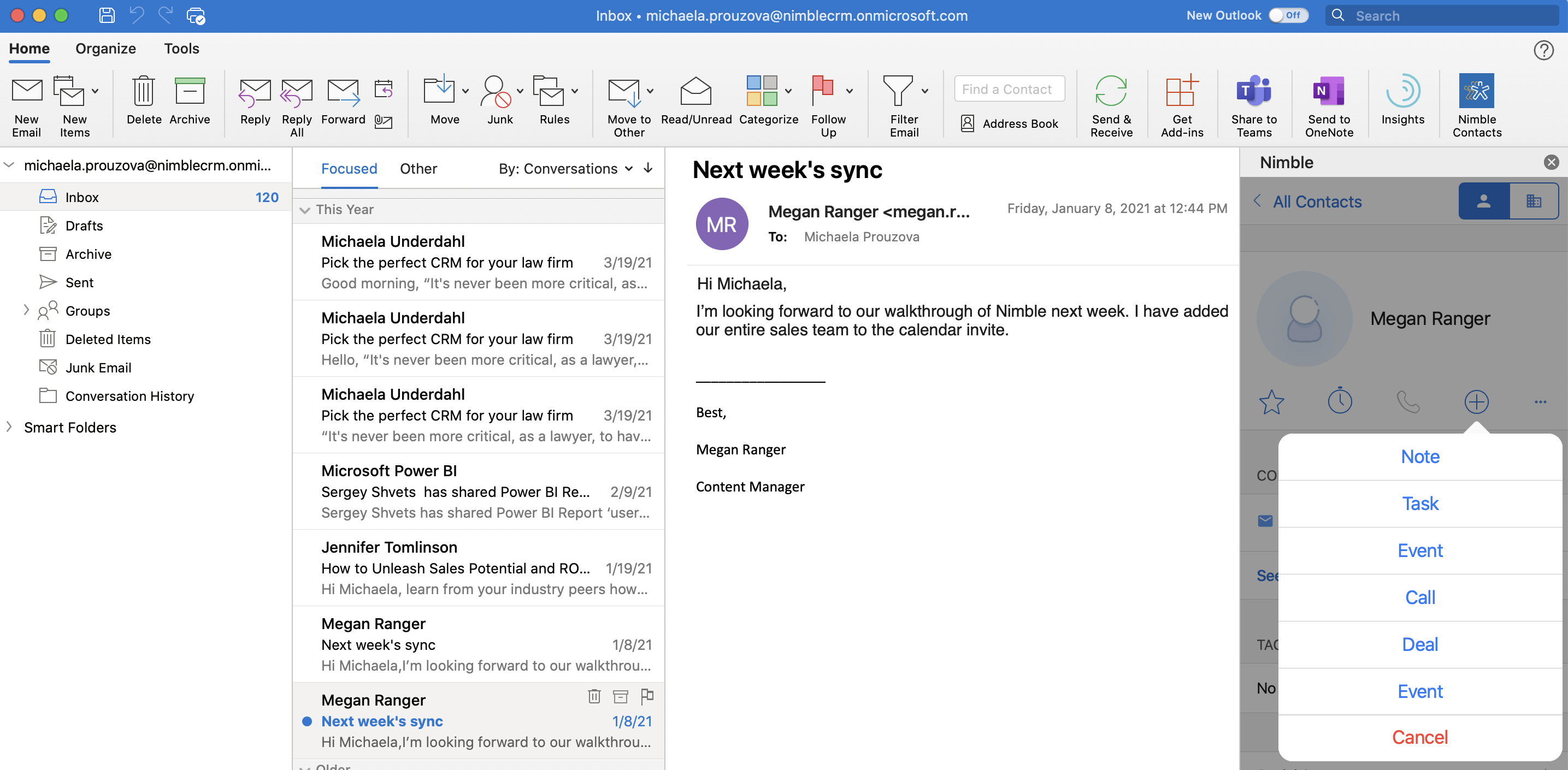 Screenshot of Nimble Add-in for Outlook