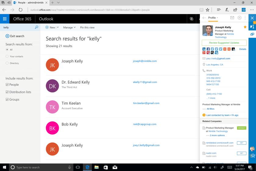 Nimble Smart Contacts App - Office 365